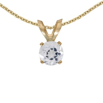 14k Yellow Gold Round White Topaz Pendant