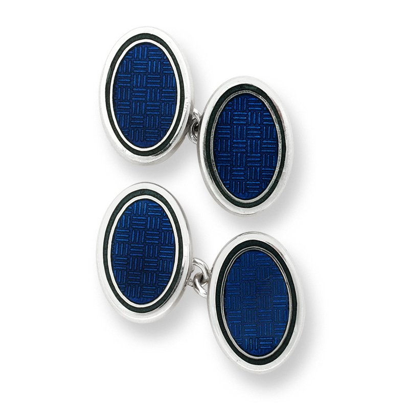 Nicole Barr Designs Blue Oval Weave Chain-link Cufflinks.Sterling Silver