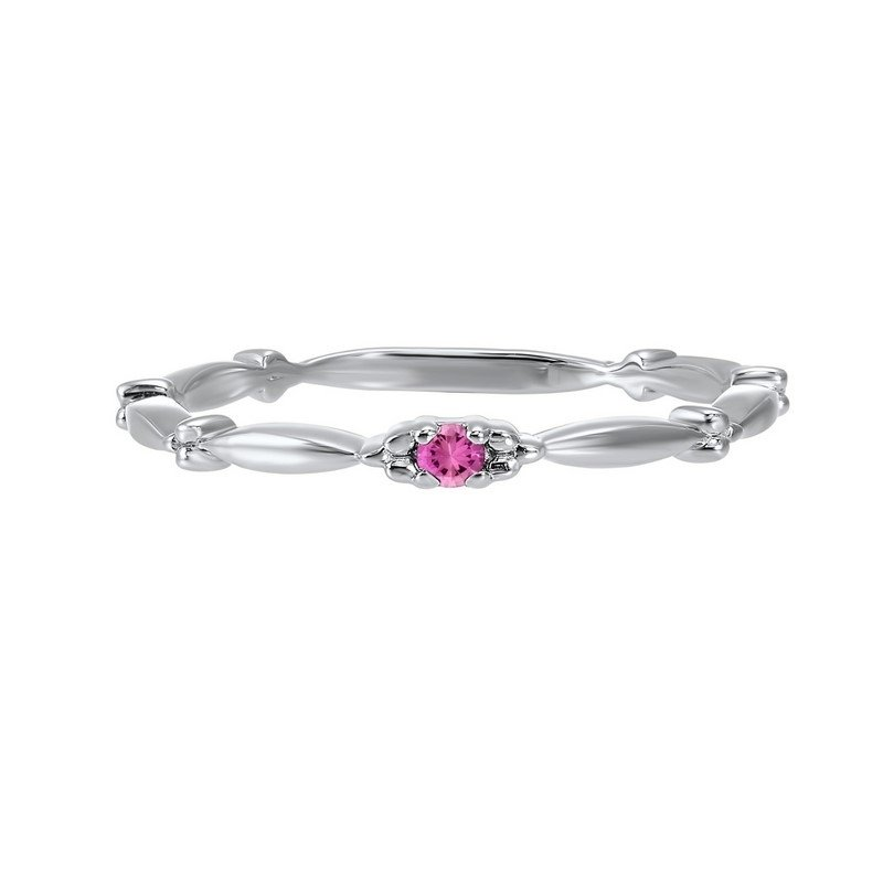Gems One Pink Tourmaline Solitaire Antique Style Slender Stackable Band in 10k White Gold