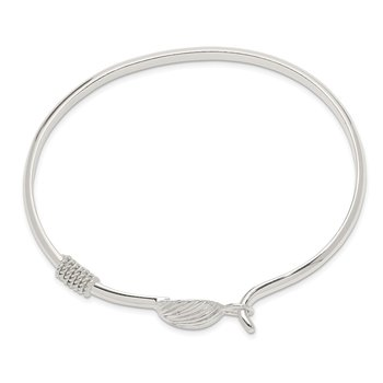 Sterling Silver Polished Shell Bangle