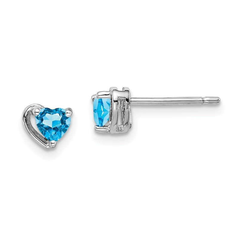 Quality Gold Sterling Silver Rhod-plated Light Swiss Blue Topaz Heart Post Earrings