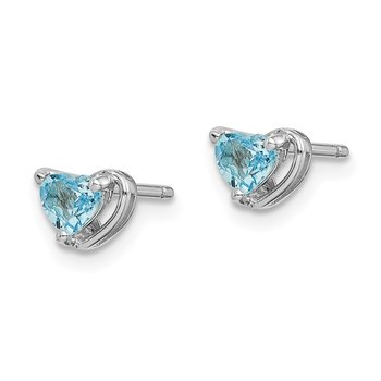 Sterling Silver Rhod-plated Light Swiss Blue Topaz Heart Post Earrings