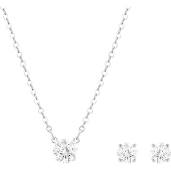 Attract Round Set, White, Rhodium plated
