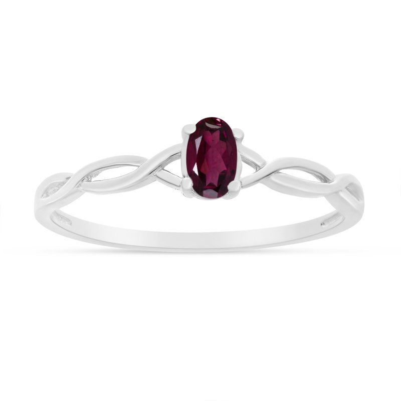 Color Merchants 10k White Gold Oval Rhodolite Garnet Ring