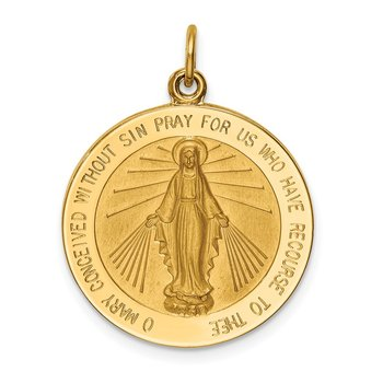 14k Solid Polished/Satin Large Round Miraculous Medal