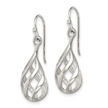 Sterling Silver Twist Drop Shepherd Hook Earrings