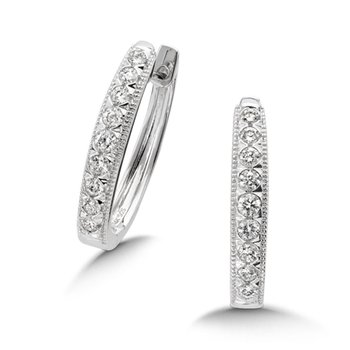 Pave set Diamond Heirloom Oval Hoops in 14k White Gold (1/2ct. tw.) GH/SI1-SI2