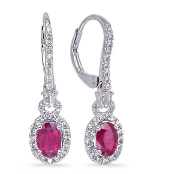 White Gold Ruby & Diamond Earring