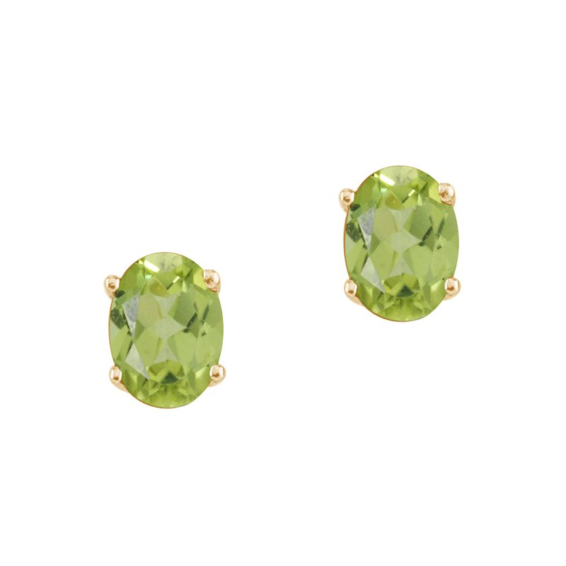 Color Merchants 14k Yellow Gold Oval Peridot Stud Earrings