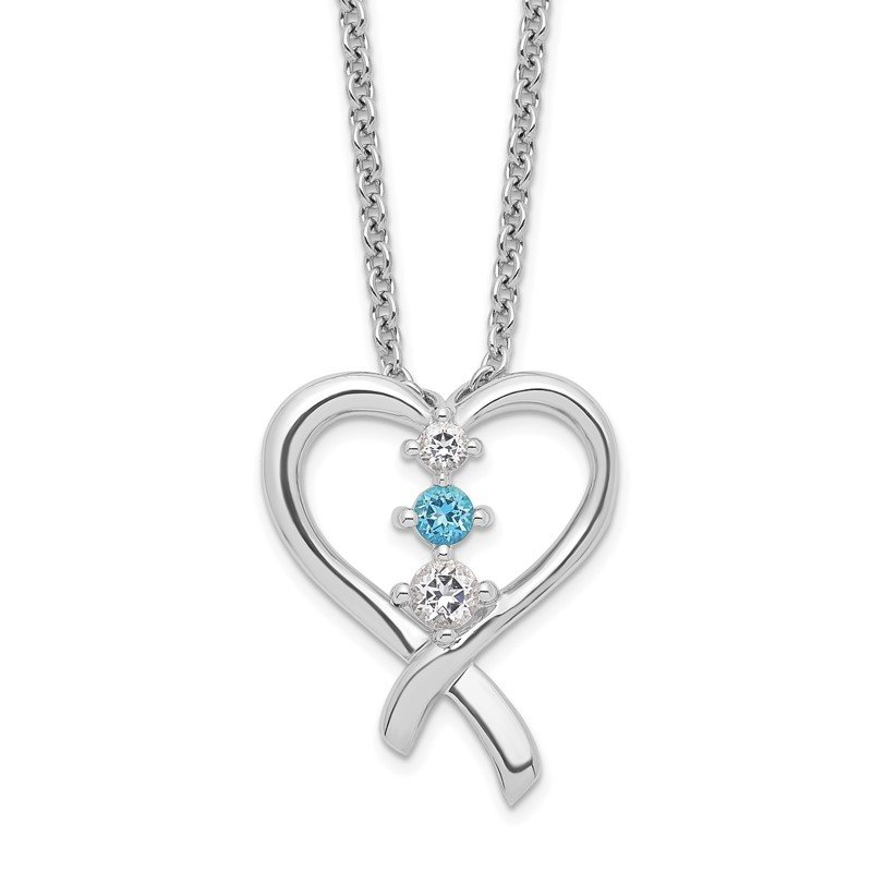 Quality Gold Sterling Silver Survivor Clear/Blue Swarovski Topaz Heart of Resil Necklace