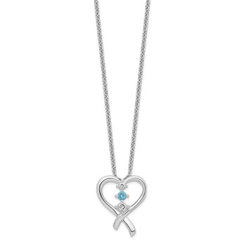 Sterling Silver Survivor Clear/Blue Swarovski Topaz Heart of Resil Necklace