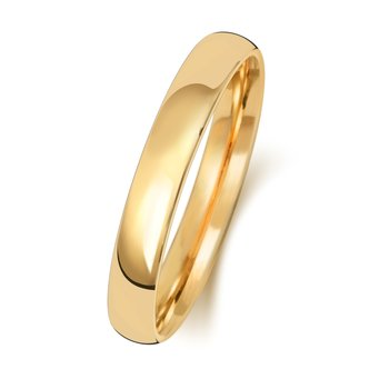 9Ct Yellow Gold 3mm Slight Court Wedding Ring