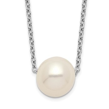 Sterling Silver Rhod-plat 9-10mm White Rice FWC Pearl Necklace