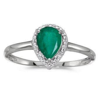 10k White Gold Pear Emerald And Diamond Ring