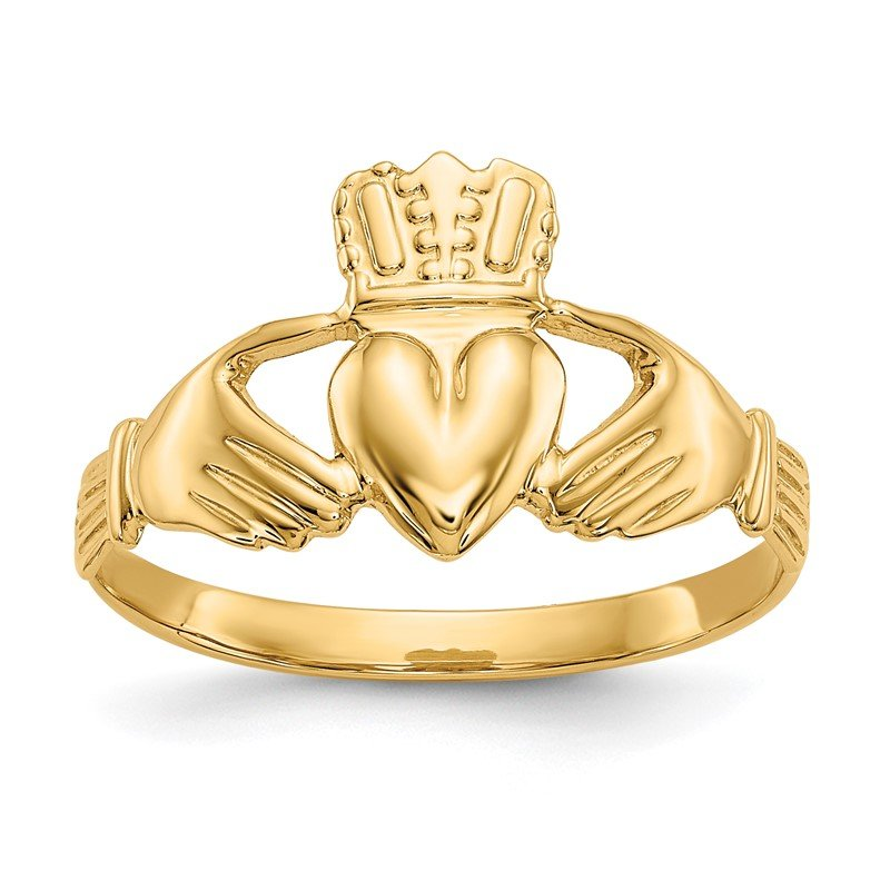 Quality Gold 14k Polished Claddagh Ring