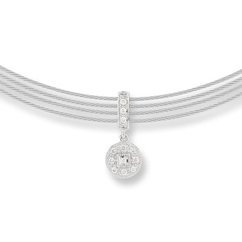Grey Cable Round Drop Choker Necklace with 18kt White Gold & Diamonds