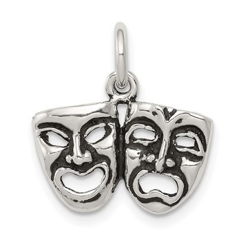 Sterling Silver Antiqued Comedy/Tragedy Face Charms