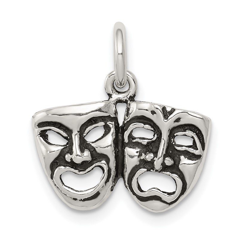 Quality Gold Sterling Silver Antiqued Comedy/Tragedy Face Charms
