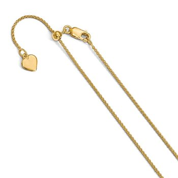 Leslie's Sterling Silver Gold-plated Adjustable 1mm Spiga Chain