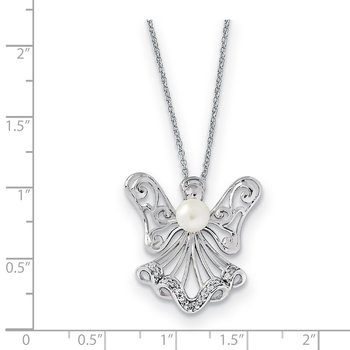 Sterling Silver FW Cultured Pearl & CZ Angel Of Purity 18in Necklac