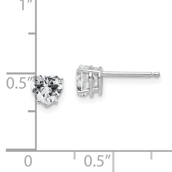 14k White Gold 5mm Heart Cubic Zirconia Earrings