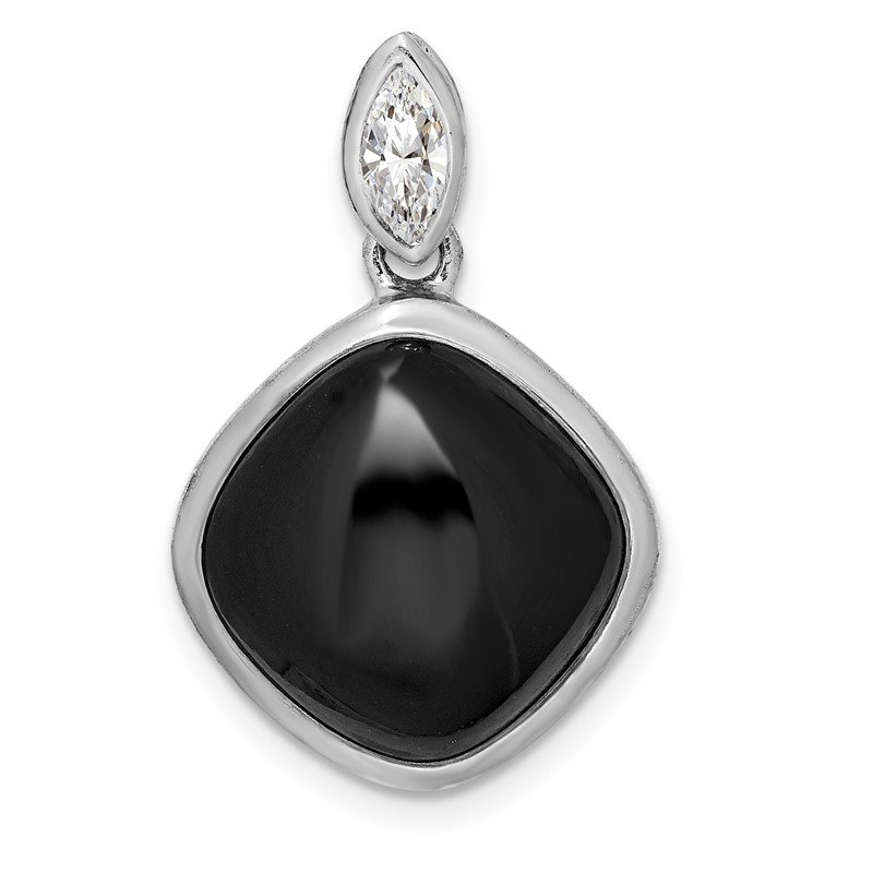 Quality Gold Sterling Silver Rhodium-plated Black Agate & CZ Pendant