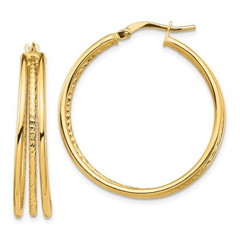 14k Polished & Textured Large 3 Hoop Earrings