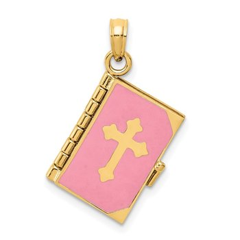 14K 3D Pink Enameled Lord's Prayer Bible Pendant