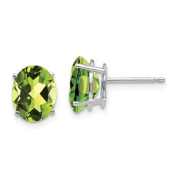 14k White Gold 9x7mm Oval Peridot Earrings