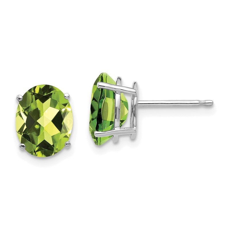 Quality Gold 14k White Gold 9x7mm Oval Peridot Earrings