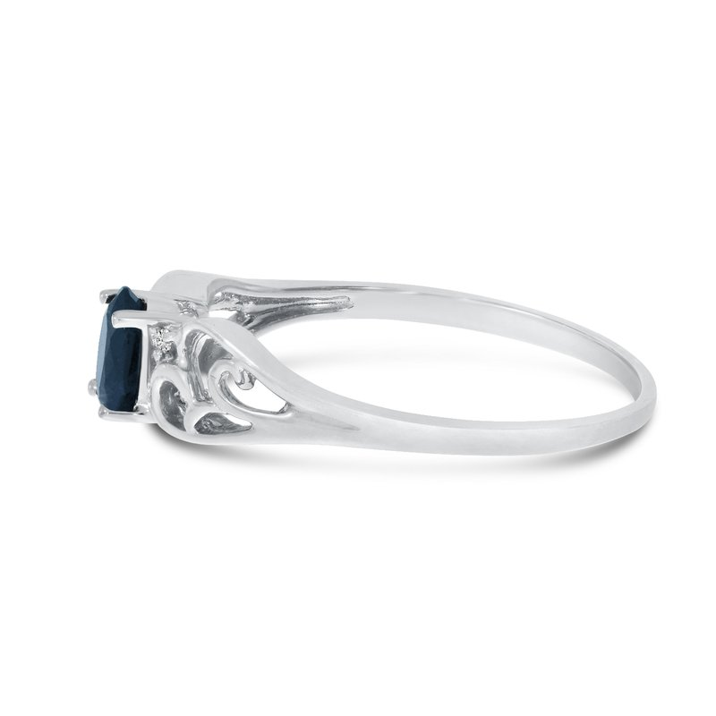 Color Merchants 10k White Gold Oval Sapphire And Diamond Ring