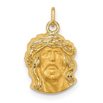 14k Hollow Polished/Satin Small Jesus Medal