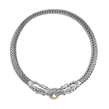 Legends Naga 10.5MM Necklace in Silver and 18K Gold