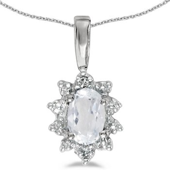 10k White Gold Oval White Topaz And Diamond Pendant