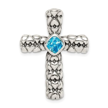 Sterling Silver Blue CZ Cross Chain Slide