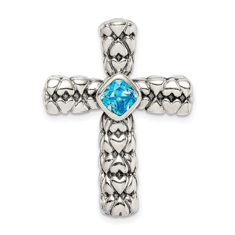 Quality Gold Sterling Silver Blue CZ Cross Chain Slide