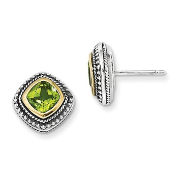 Sterling Silver w/14k Peridot Earrings