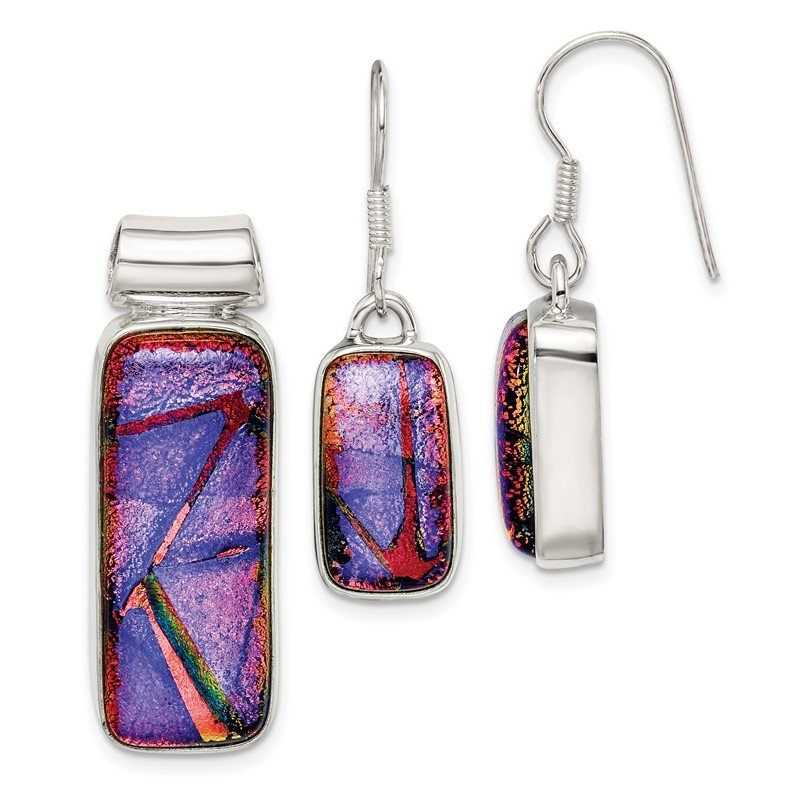 J.F. Kruse Signature Collection Sterling Silver Multicolor Dichroic Glass Earrings and Pendant Set