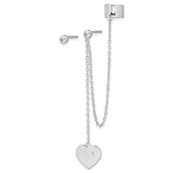 Sterling Silver Rhodium-plated CZ Heart Dangle Cuff & Post Earrings