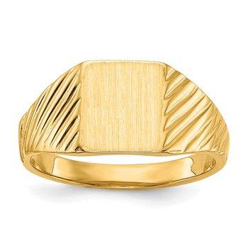 14k 8.0x6.5mm Open Back Child's Signet Ring