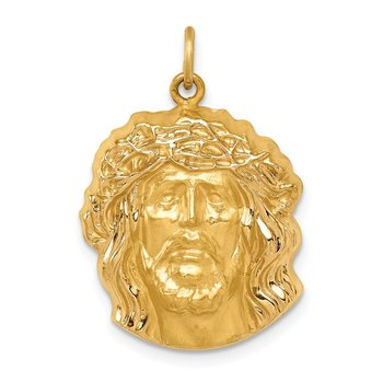 14k Hollow Polished/Satin Medium Jesus Medal