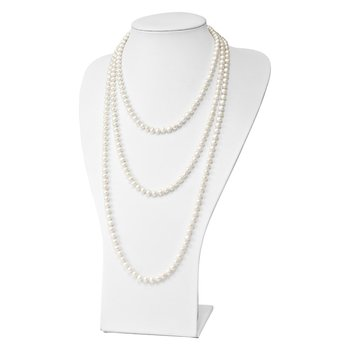 6-7mm White Semi-round Freshwater Cultured Pearl Endless Necklace