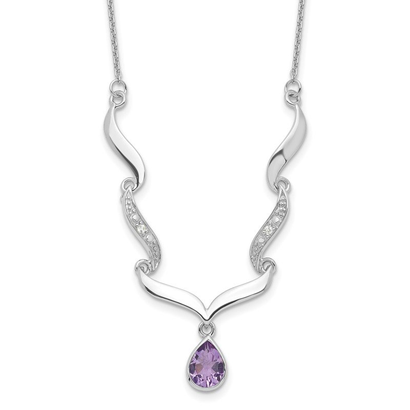 Quality Gold Sterling Silver Rhodium-plated w/Amethyst & White Topaz w/2in. ext. Necklac