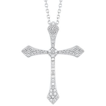Diamond Celtic Cross Pendant Necklace in 14k White Gold (⅕ ctw)