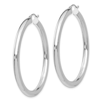 14K White Gold Polished 4mm Lightweight Tube Hoop Earrings
