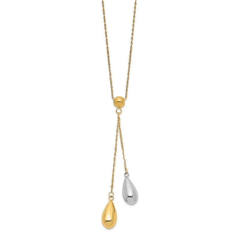 Quality Gold 14k Yellow and White Gold Teardrop Puff Lariat Necklace