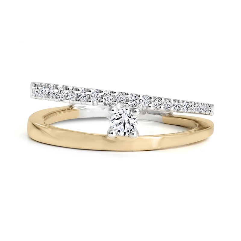 Canadian Rocks Angled Ring with Pavé Diamonds