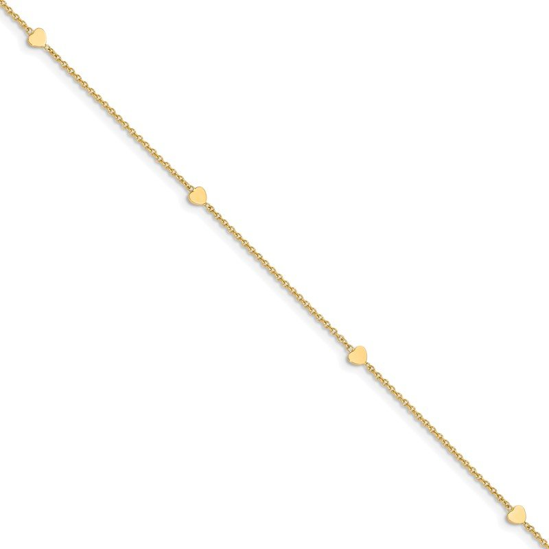 Quality Gold 14K Polished Hearts 10in Plus 1in ext. Anklet