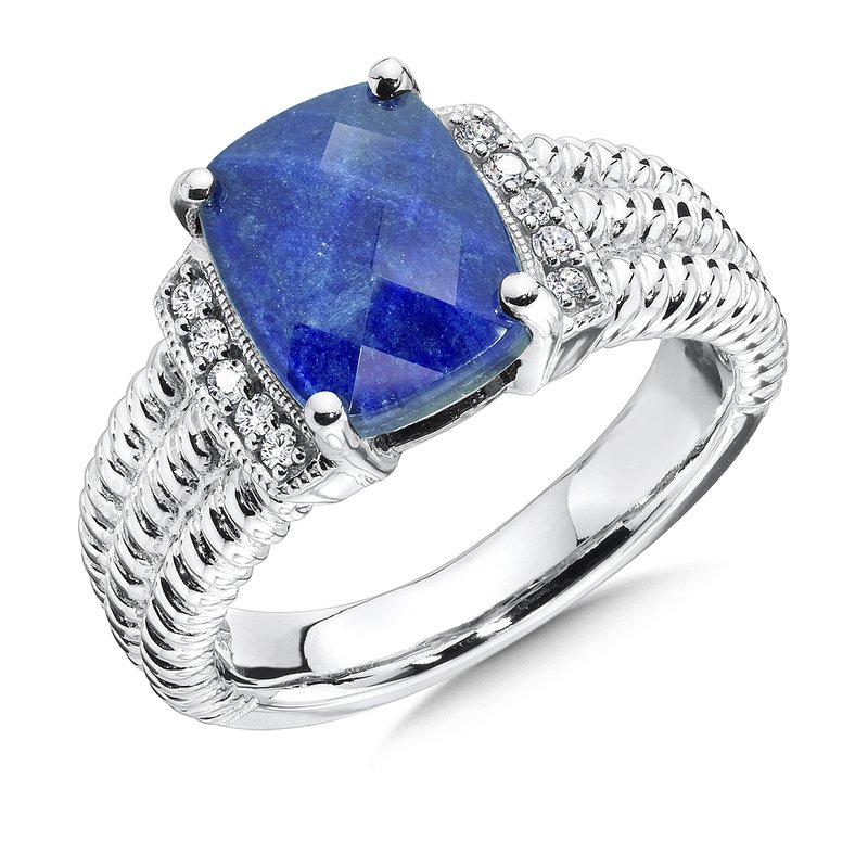 Sterling silver, diamond and lapis fusion ring