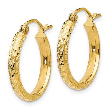 14K Diamond-cut 2.8x18mm Hollow Hoop Earrings